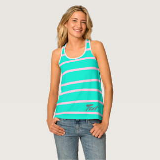 cute pink stripes pattern on a mint background tank top
