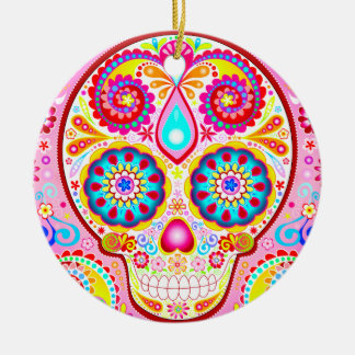 Cute Pink Sugar Skull Ornament - Day of the Dead