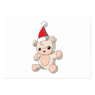 Cute Pink Teddy Bear Santa Hat Invitation Stamps Business Card Templates