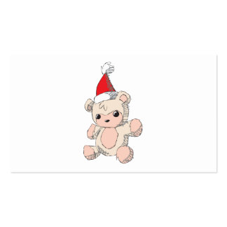 Cute Pink Teddy Bear Santa Hat Invitation Stamps Business Cards