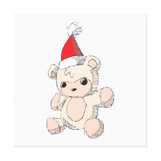 Cute Pink Teddy Bear Santa Hat Invitation Stamps Canvas Prints