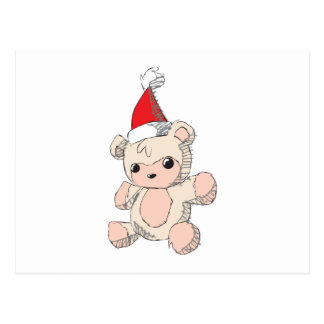 Cute Pink Teddy Bear Santa Hat Invitation Stamps Postcards