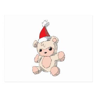 Cute Pink Teddy Bear Santa Hat Invitation Stamps Postcard