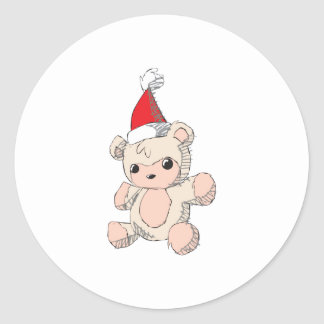 Cute Pink Teddy Bear Santa Hat Invitation Stamps Round Sticker