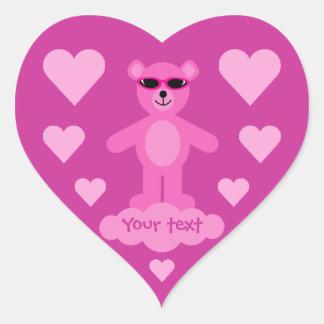 Cute Pink Teddy Bear With Hearts & Shades Heart Sticker
