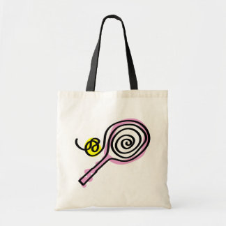 Cute pink tennis racket tote bag