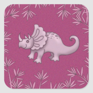 Cute Pink Triceratops Stickers