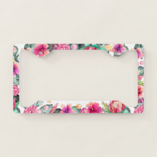Cute pink tropical floral and foliage frame