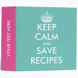 Cute pink turquoise Keep calm recipe binder book