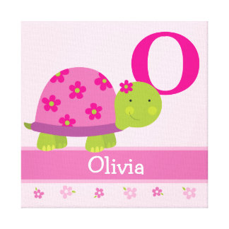 Cute Pink Turtle Children's Room Canvas Art Print