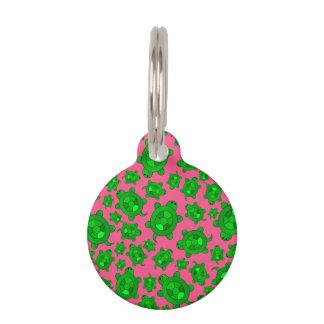 Cute pink turtle pattern pet ID tag