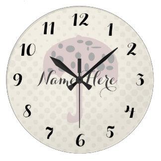 Cute Pink Umbrella Dots Add Name Wall  Clock