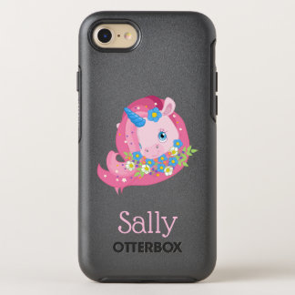 Cute Pink Unicorn and Flowers Personalized OtterBox Symmetry iPhone 8/7 Case
