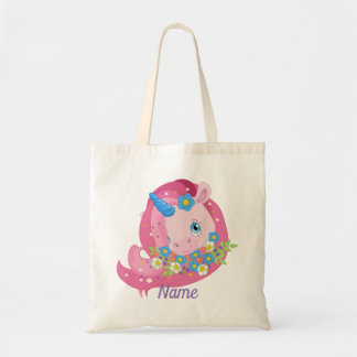 Cute Pink Unicorn and Flowers Personalized Tote Bag