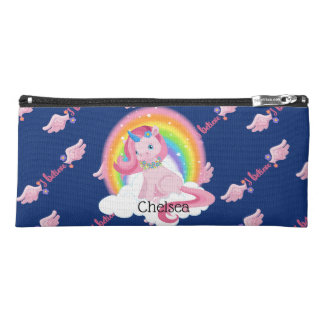 Cute Pink Unicorn and Rainbow Personalized Pencil Case