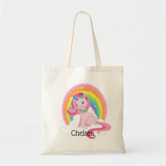 Cute Pink Unicorn and Rainbow Personalized Tote Bag