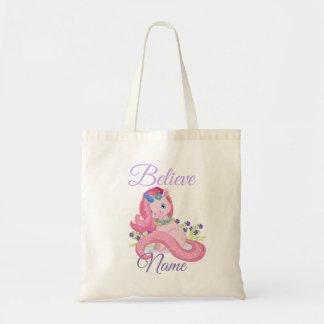Cute Pink Unicorn Believe Personalized Tote Bag