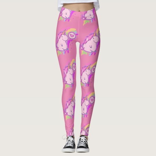 Cute Pink Unicorn Love Pattern Leggings