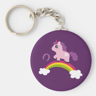 Cute Pink Unicorn on a Rainbow Keychain