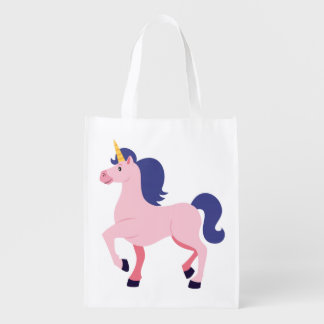 Cute Pink Unicorn Reusable Grocery Bag