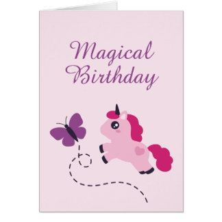Cute Pink Unicorn with a Butterfly Card
