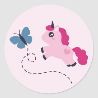 Cute Pink Unicorn with a Butterfly Classic Round Sticker