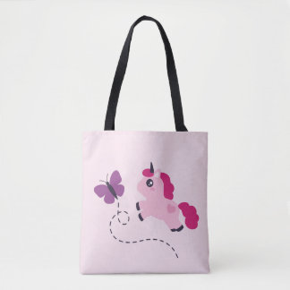 Cute Pink Unicorn with a Butterfly Tote Bag
