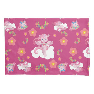 Cute Pink Unicorns and Floral Pattern Pillowcase