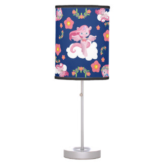 Cute Pink Unicorns and Floral Pattern Table Lamp