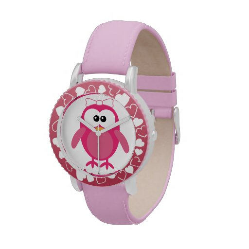 Cute Pink Vector Owl with Ribbon Wrist Watches