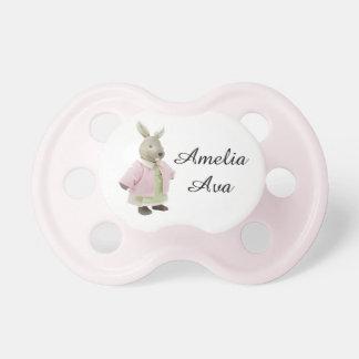 "Cute Pink Vintage Rabbit ""Amelia"" Pacifier"
