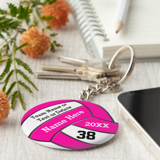 Cute Pink Volleyball Trinkets PERSONALIZED Keychain