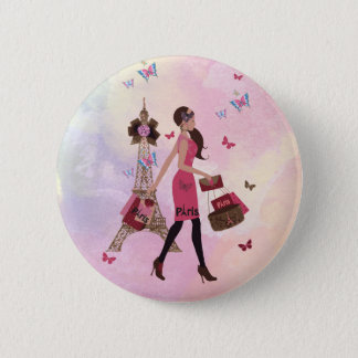 Cute Pink Watercolor Girl Paris Eiffel Tower 2 Inch Round Button