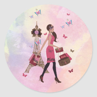Cute Pink Watercolor Girl Paris Eiffel Tower Classic Round Sticker