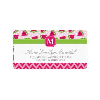 Cute Pink Watermelon Polka Dots Chevron Monogram Label