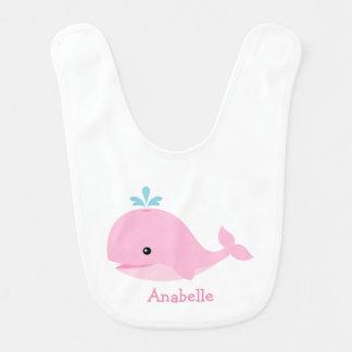 Cute Pink Whale Personalized Bib