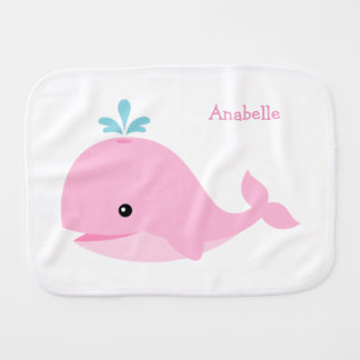 Cute Pink Whale Personalized Burp Cloth