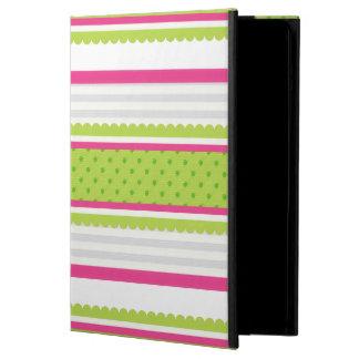 Cute Pink White Green Stripes Polka Dot Pattern iPad Air Case
