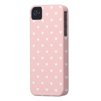 Cute Pink & White Hearts Pattern iPhone 4/4S Case