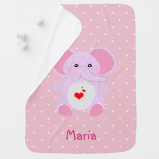Cute Pink White Polka Dot Elephant Baby Girl Baby Blanket