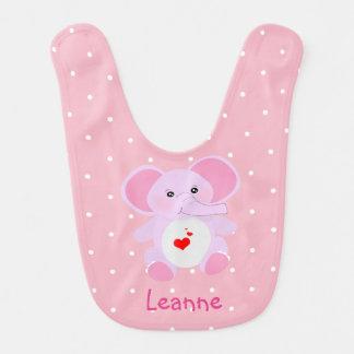 Cute Pink White Polka Dot Elephant Baby Girl Bib