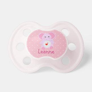 Cute Pink White Polka Dot Elephant Baby Girl Pacifier