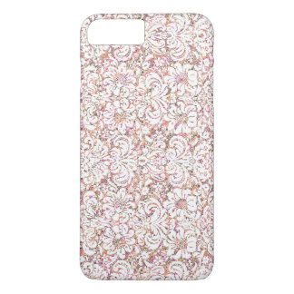 Cute pink white vintage floral design iPhone 7 plus case