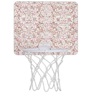 Cute pink white vintage floral design mini basketball hoop