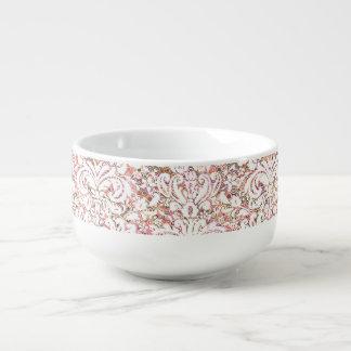 Cute pink white vintage floral design soup mug