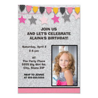 "Cute Pink Yellow Black Silver Flags Photo Birthday 3.5"" X 5"" Invitation Card"