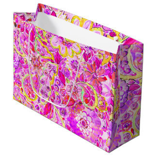 Cute pinky abstract flowers large gift bag