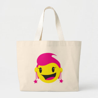 CUTE pinky girl SMILEY Large Tote Bag