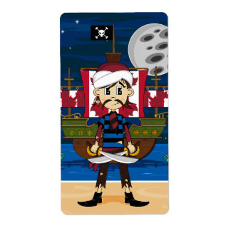 Cute Pirate and Ship Scene Label Shipping Label