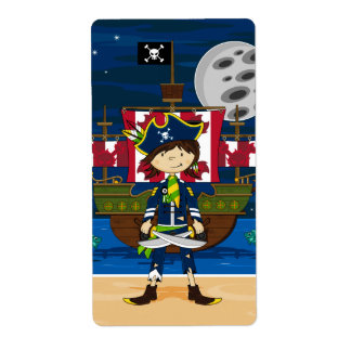 Cute Pirate and Ship Sticker Label Shipping Label